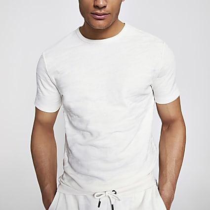 Ecru camo slim fit textured T-shirt