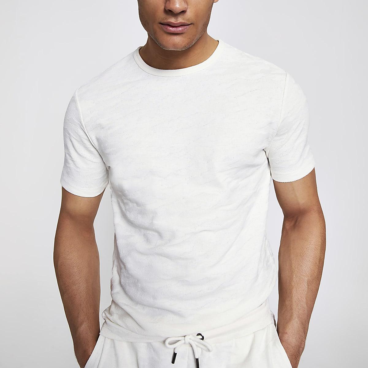 Ecru slim-fit T-shirt met textuur en camouflageprint