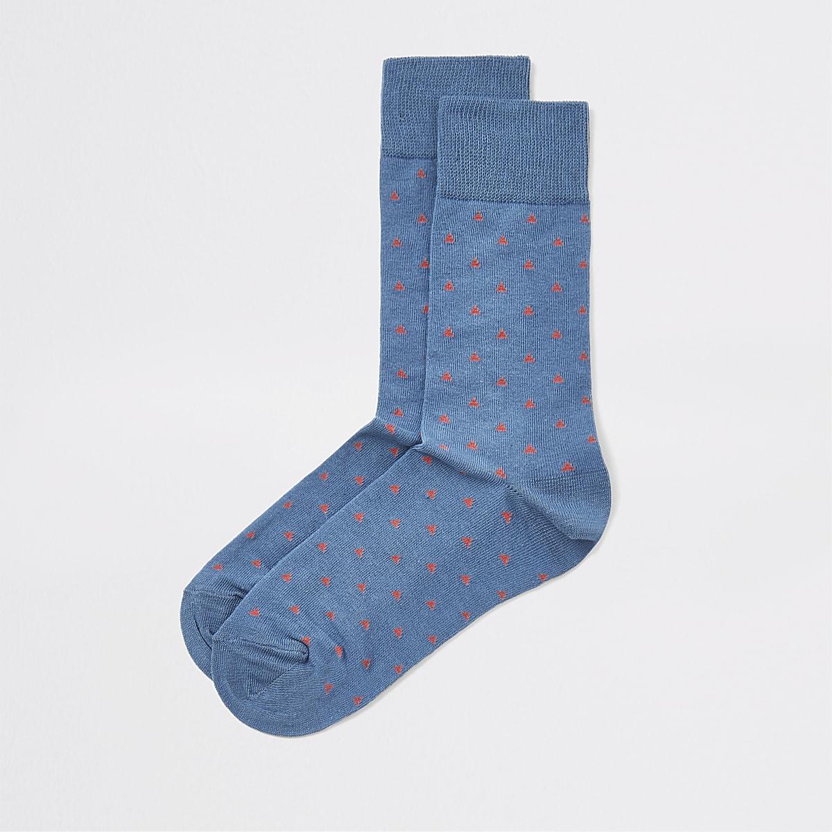 Blauwe sokken met geometrische print