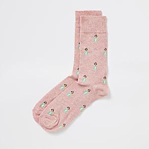 Pinke Socken mit Print