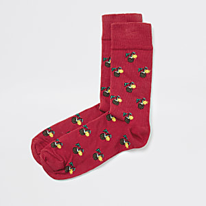 Red pina colada print socks