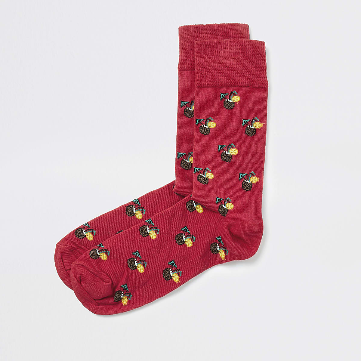 Red pina colada print socks