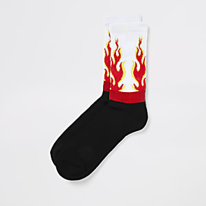 White flame print socks