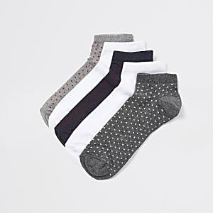 Navy spot print sneaker socks 5 pack