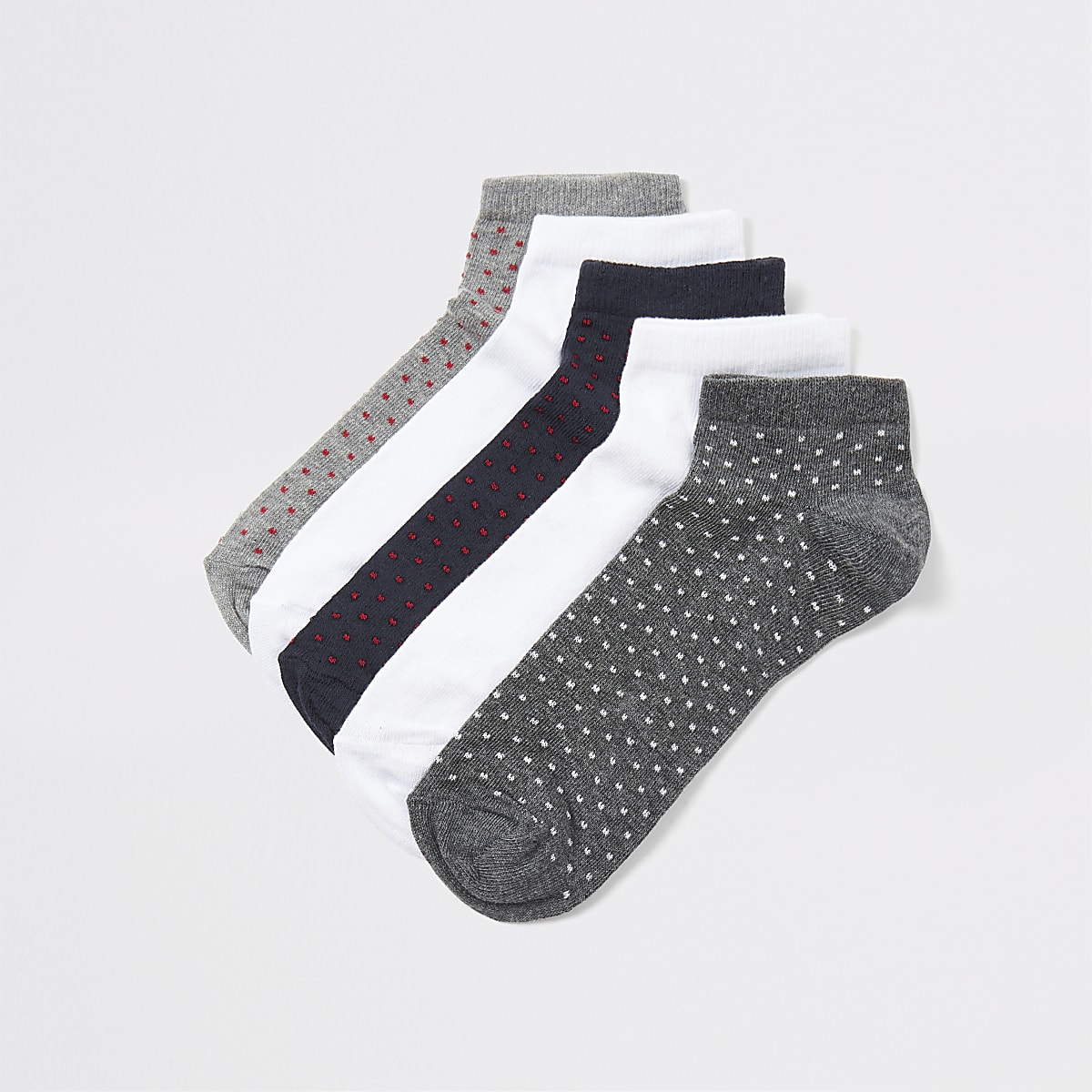 Navy spot print trainer socks 5 pack