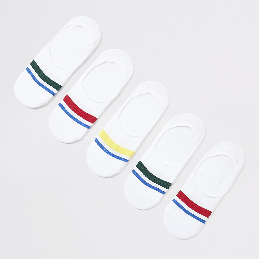 White trainer stripe trim liner socks 5 pack