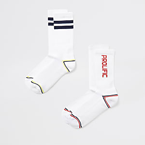 White Prolific ribbed socks 2 pack