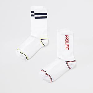 Set van 2 witte geribbelde 'Prolific' sokken
