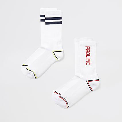 White Prolific ribbed socks 2 pack