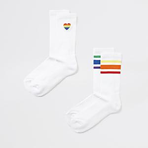 Weiße, gestreifte Socken, 2er-Pack