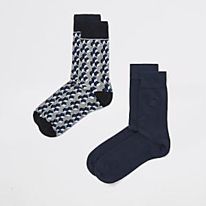 Grey geo print socks 2 pack