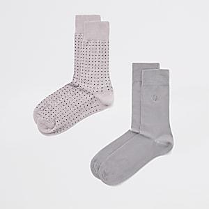 Lot de 2 paires de chaussettes à pois roses