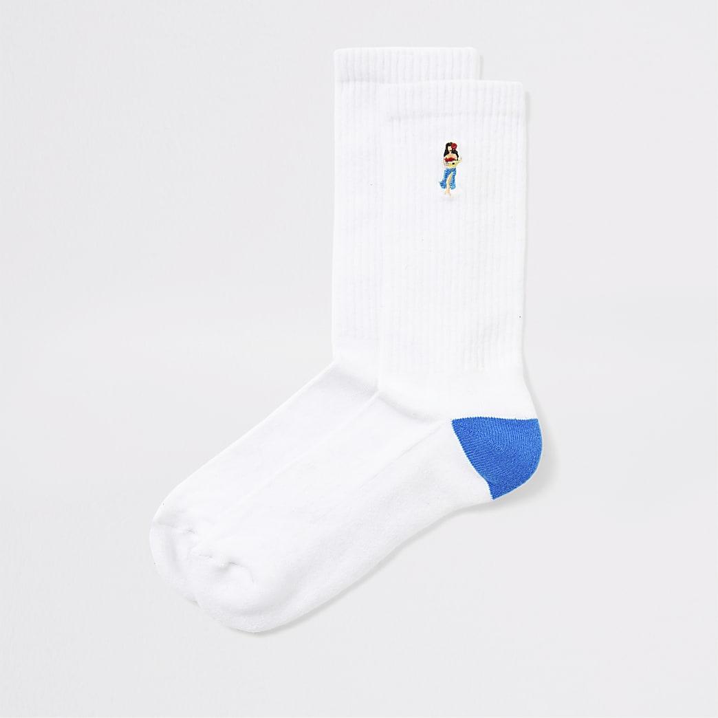 White Hula girl print tube socks