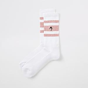 Maison Riviera - Witte gestreepte sokken