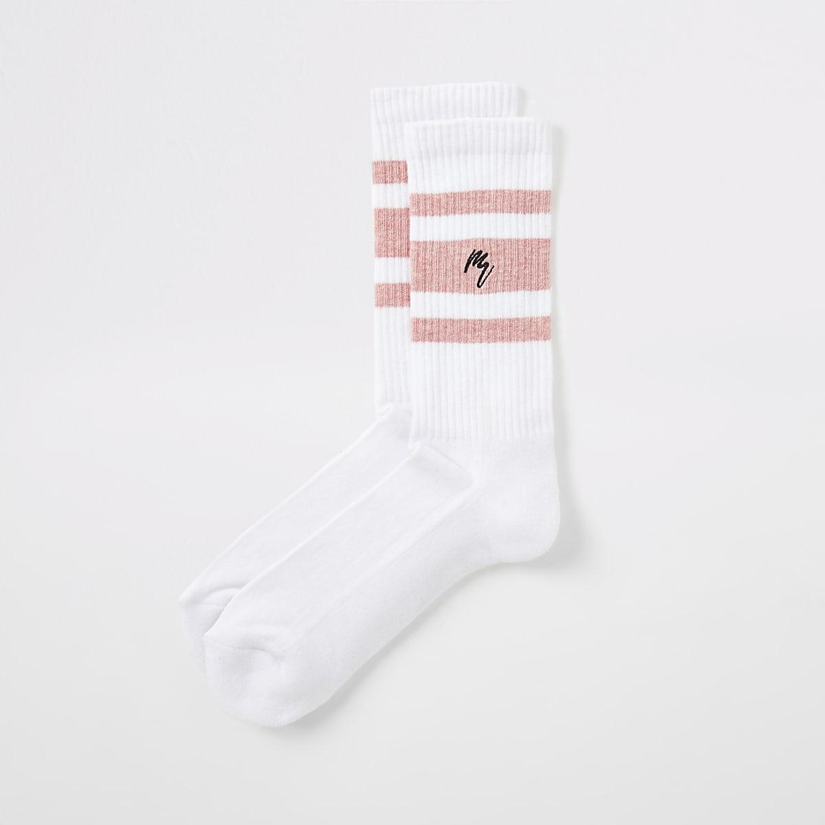 White Maison Riviera stripe socks