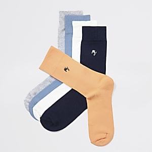 Multicoloured stripe trim socks 2 pack