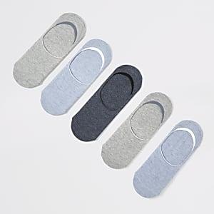 Lot de 5 paires de chaussettes de sport invisibles bleues et grises
