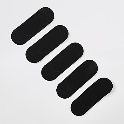 Black open trainer liner socks 5 pack