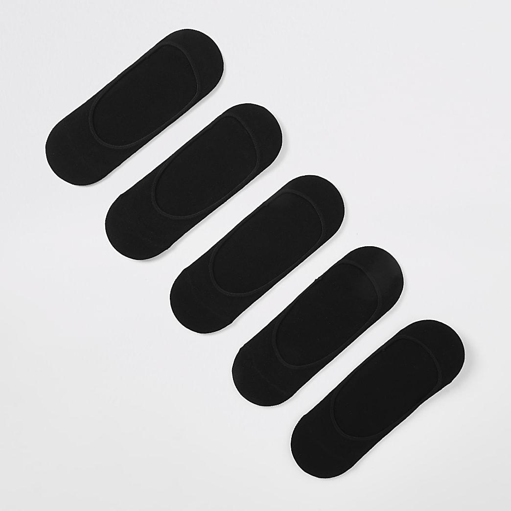 Lot de 5 paires de chaussettes de sport invisibles noires