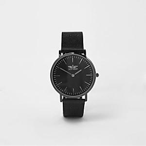Softech – Montre noire avec bracelet en maille