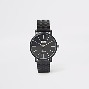 Black slim chain link watch