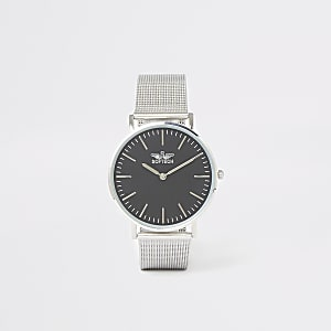 Silver mesh strap flat round face watch