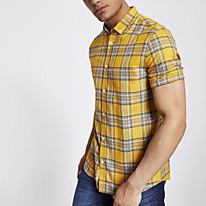 Geel geruit slim-fit overhemd met korte mouwen