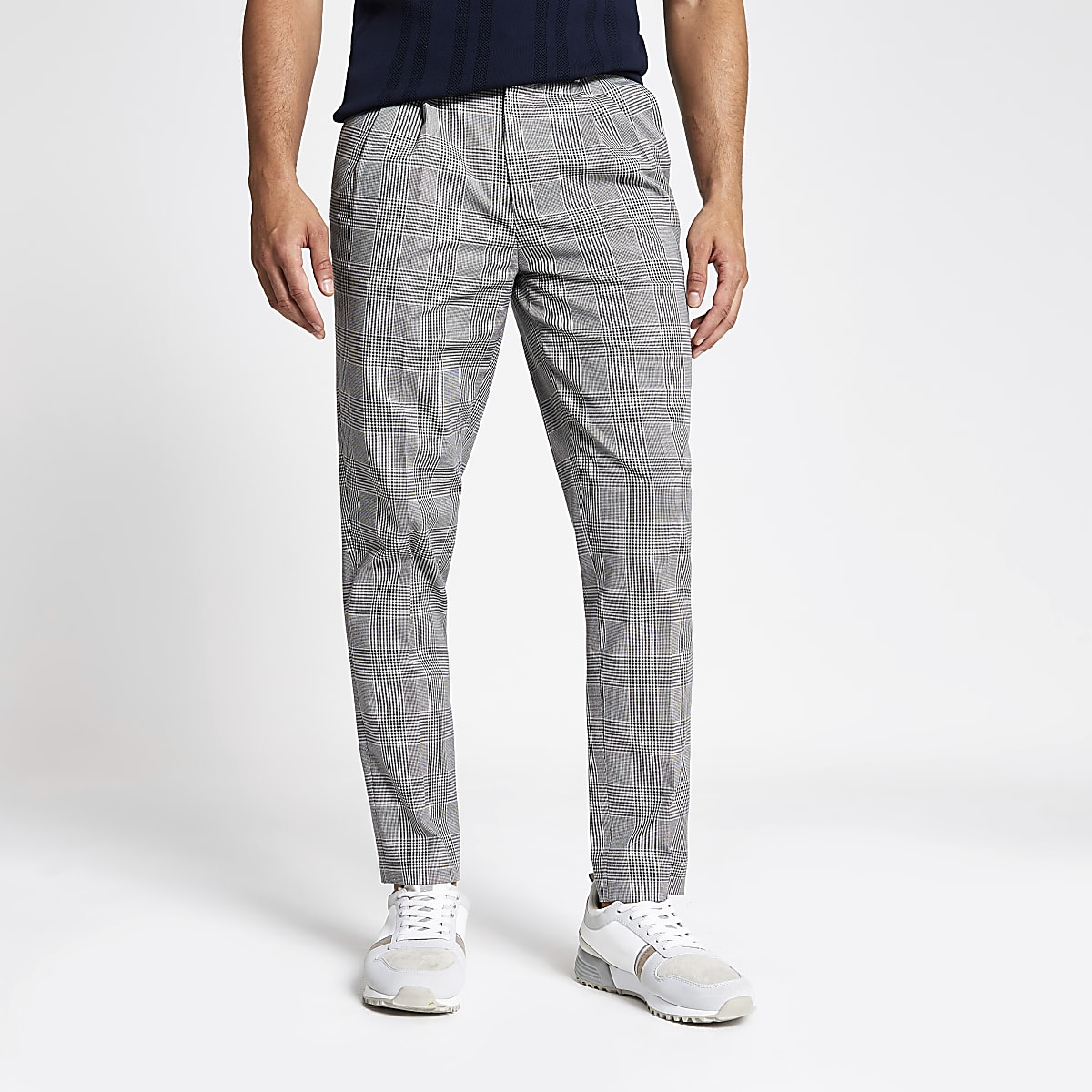 Grey check tapered trouser