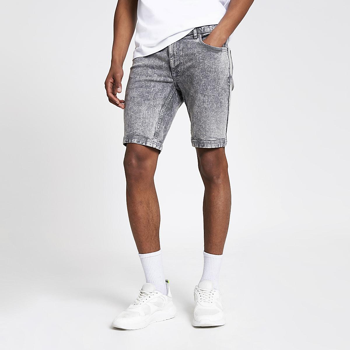 Grey skinny acid denim shorts