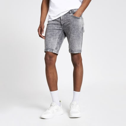 Grey skinny acid denim shorts