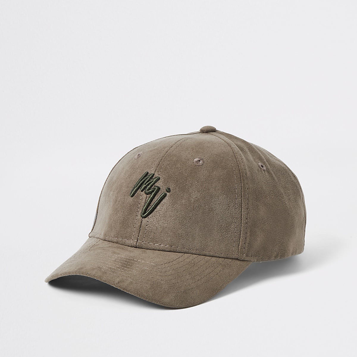 Khaki embroidered faux suede cap