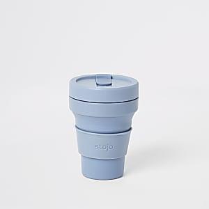 Stojo – Gobelet bleu pliant en silicone 12oz