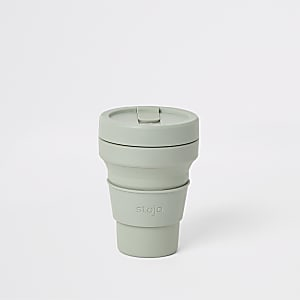 Stojo green silicone 12oz collapsible cup