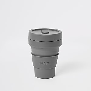Stojo – Gobelet gris pliant en silicone 16oz