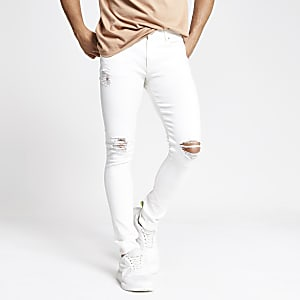 Danny - Witte superskinny ripped jeans