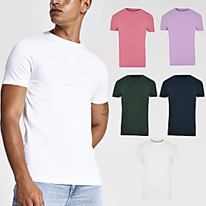 Bunte Muscle Fit T-Shirts im 5er-Pack