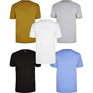 Set met 5 slim-fit T-shirts in verschillende kleuren