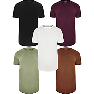 Multicoloured longline T-shirt 5 pack