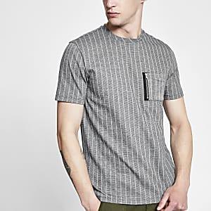 Grijs utility slim-fit T-shirt met krijtstreep