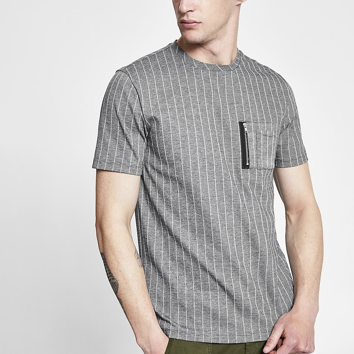 Grey pinstripe slim fit utility T-shirt