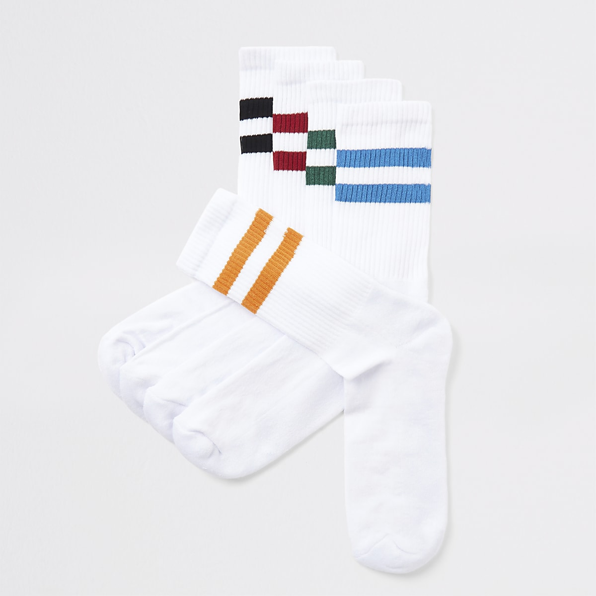 White stripe trim tube socks 5 pack