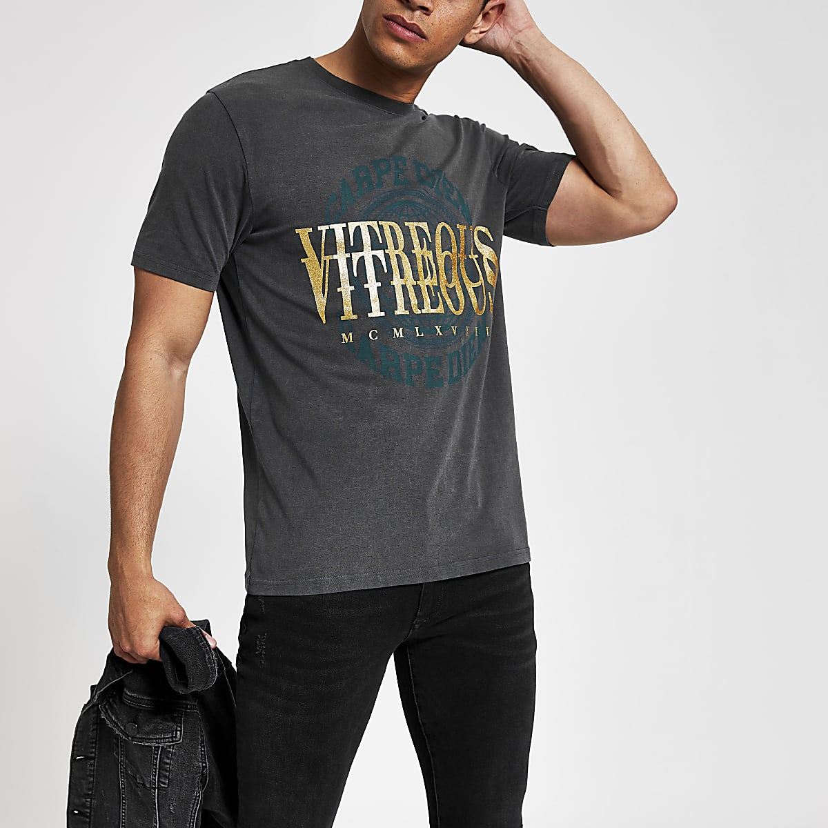 Grey wash printed slim fit T-shirt