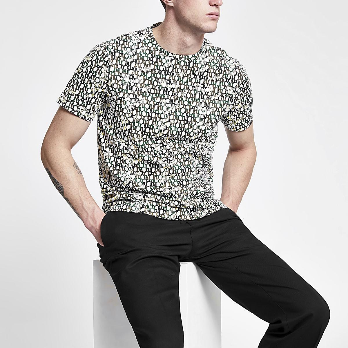 Ecru RI monogram slim fit T-shirt