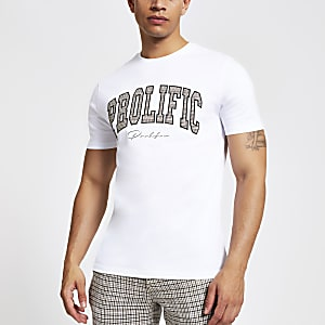 Wit slim-fit geruit T-shirt met 'Prolific'-print
