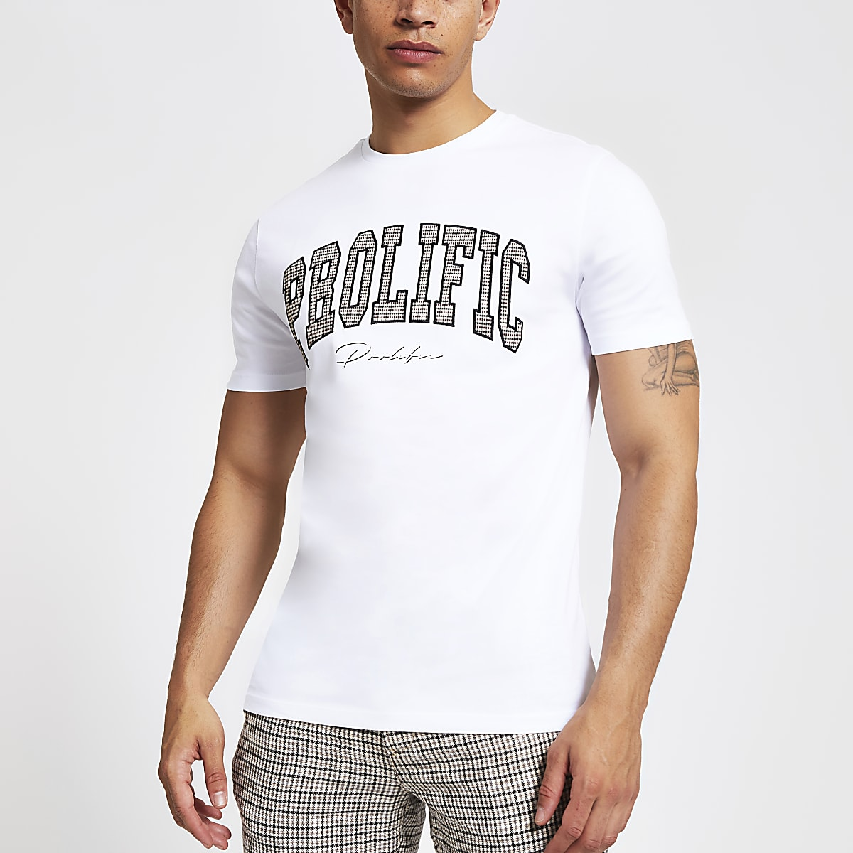 White 'Prolific' check slim fit T-shirt