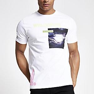 White neon printed slim fit T-shirt