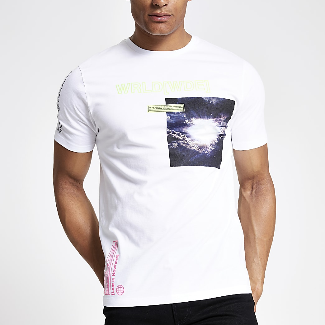 White neon printed slim fit T-shirt