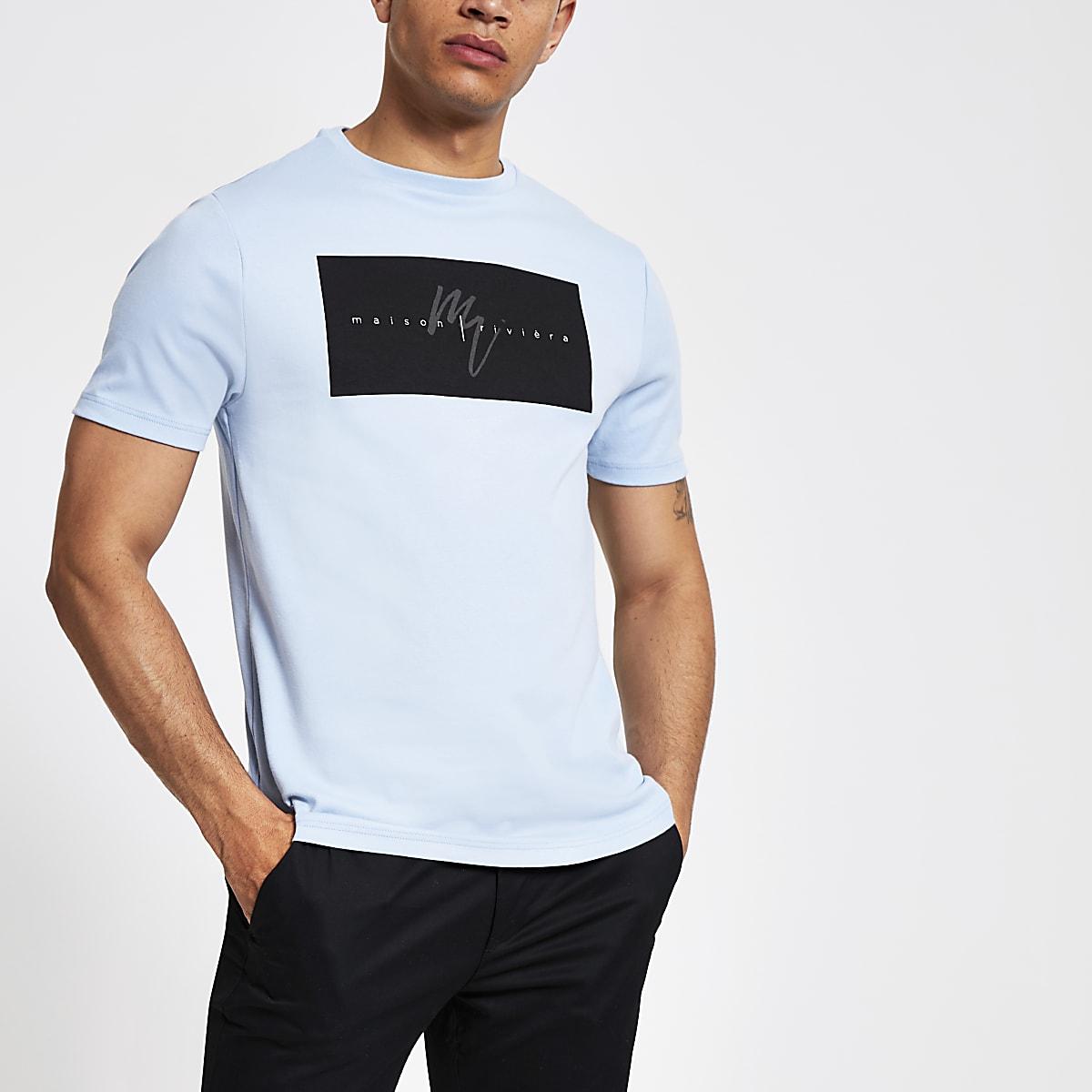 "Blaues Slim Fit T-Shirt ""Maison Riviera"""