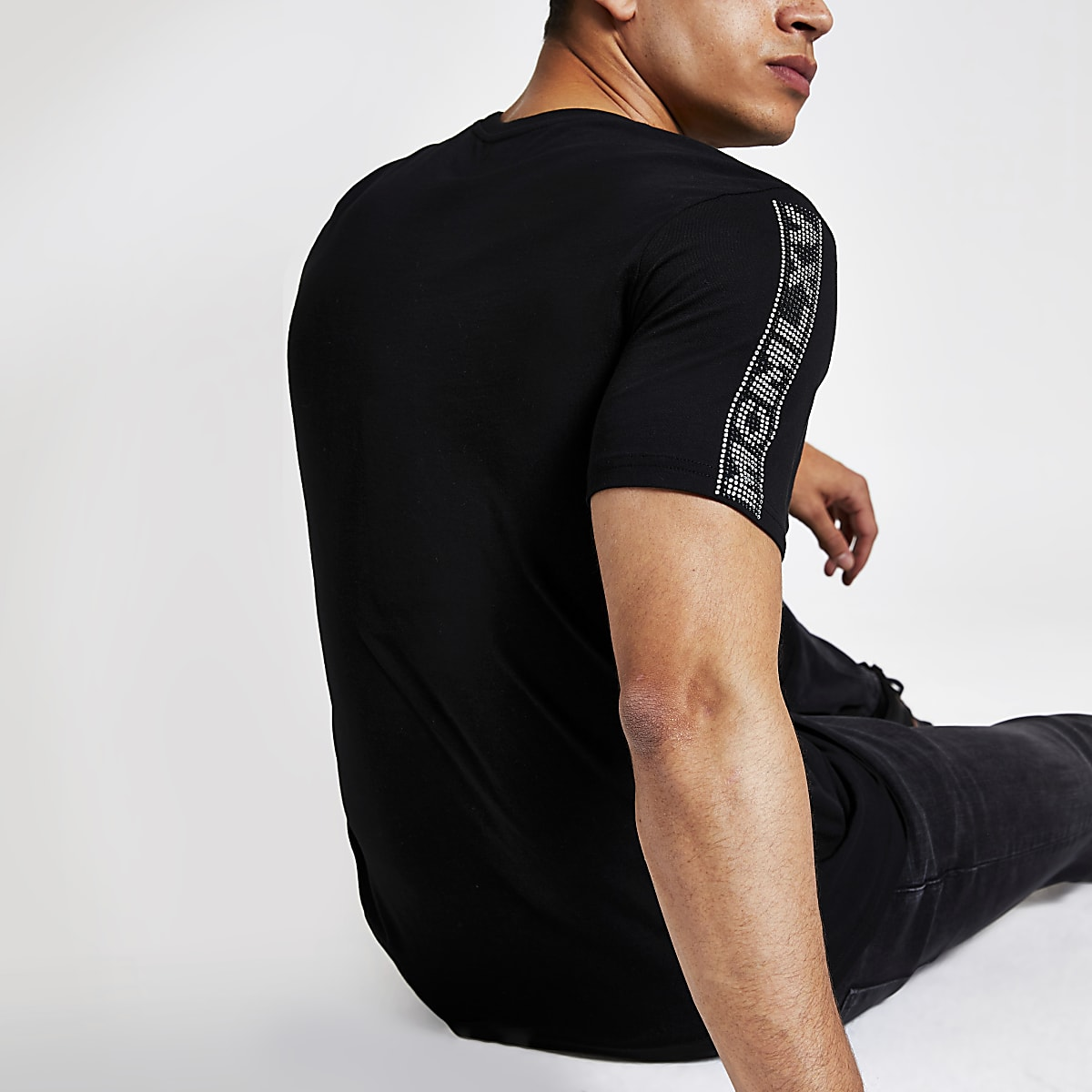 T-shirt MCMLX slim noir bordé de strass