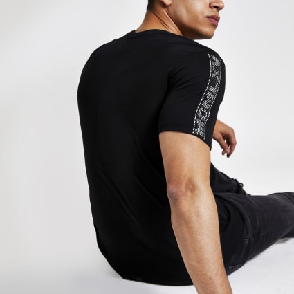 Black diamante trim slim fit t-shirt
